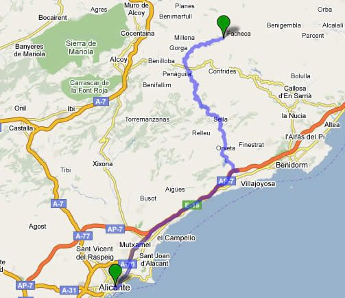 Location map, the house is about 1h and 15 minutes from Benidorm